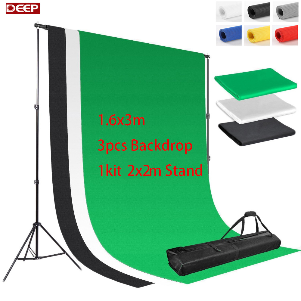 3pcs/lot DHL FREE SHIPPING 2Meter Background Stand Kit 3pc 160x300cm Backdrop Free Non woven Backdrop Support Kit 3 Clamps clamp multimeter dt3266l lcd display digital multimeter handle ac voltage current resistance tester dt3266l multimeter tester