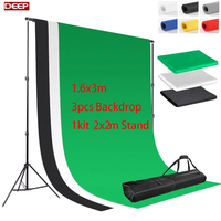 3pcs/lot DHL FREE SHIPPING 2Meter Background Stand Kit 3pc 160x300cm Backdrop Free Non woven Backdrop Support Kit 3 Clamps