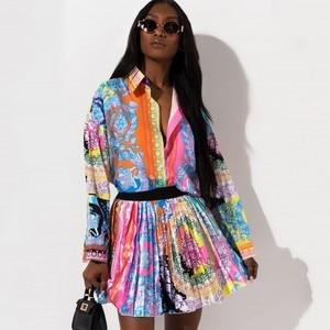 Image 1 - 2 peças conjunto sexy outono moda feminina conjunto 2021 feminino topos floral impressão manga longa camisa cintura elástica mini saias