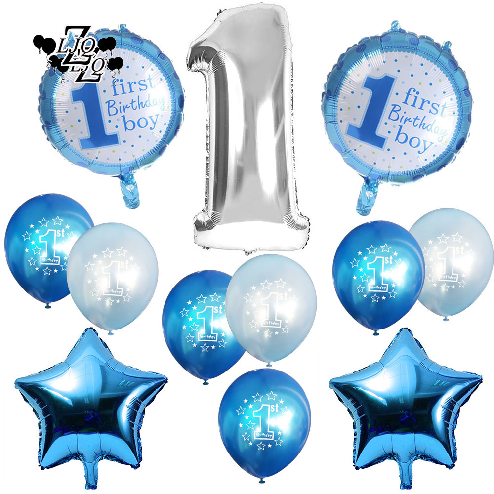 ZLJQ 15 Pcs First Birthday Decoration Set for Boy Girl - 18 Inch Star 1st Baby Shower Birthday Party Favors Supplies