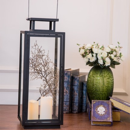 European wrought iron floor lamp light candle holder Retro wedding props romantic windproof black candle table lamp decoration - 3