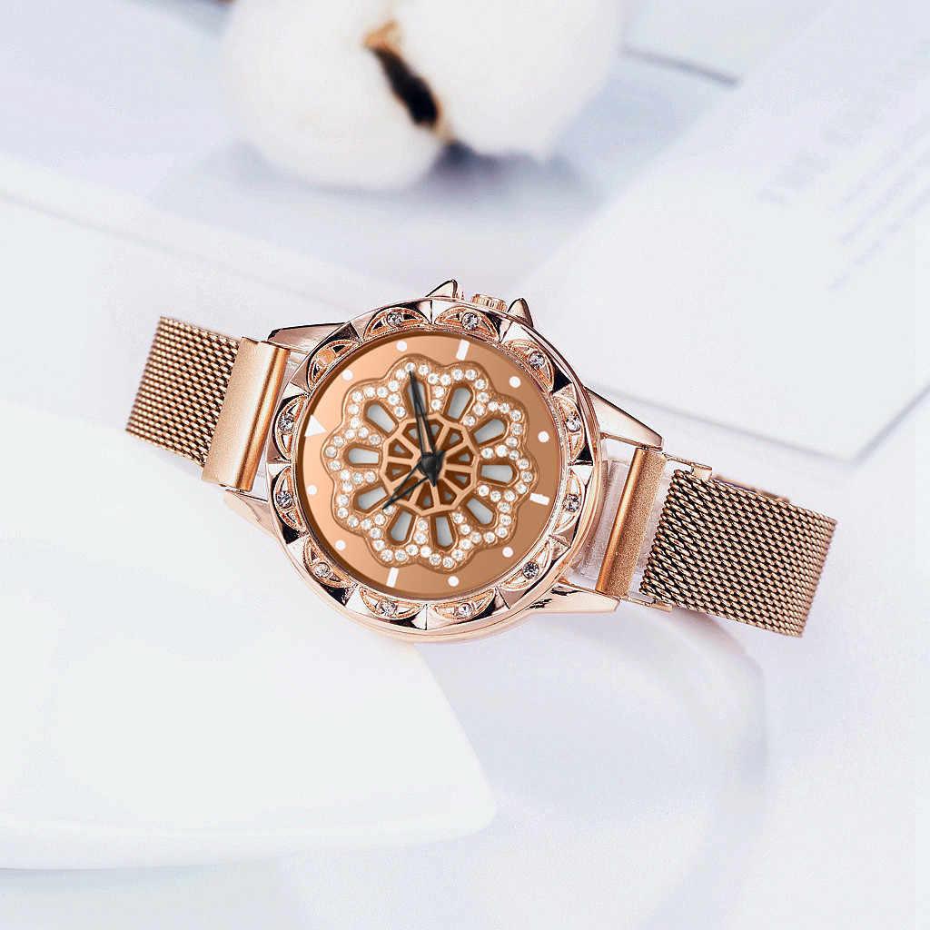 Reloj giratorio de 360 grados, Reloj de pulsera de lujo para Mujer, Reloj de pulsera con correa de malla de cuarzo, Reloj de pulsera para Mujer Saat