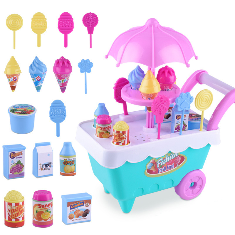 New Kids Craft Mini Ice Cream Candy Trolley House Play Educational Toys Super Funny Icecream Car Toys Kitchen Toys For Kids Gift