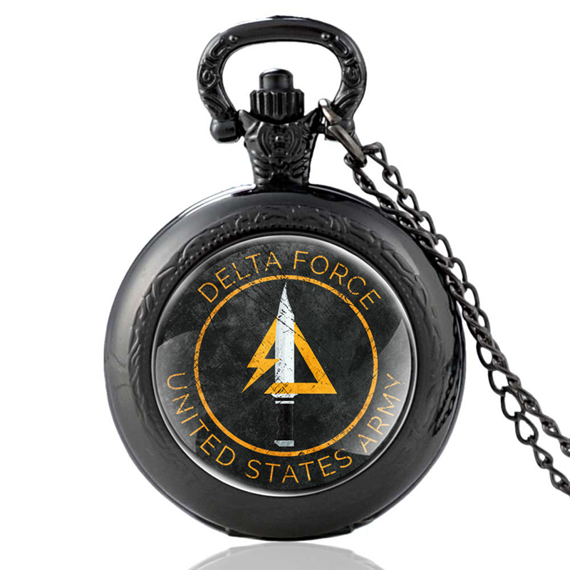 New Arrivals Black United States Delta Force Quartz Pocket Watch Vintage Men Women Army Military Necklace Watches