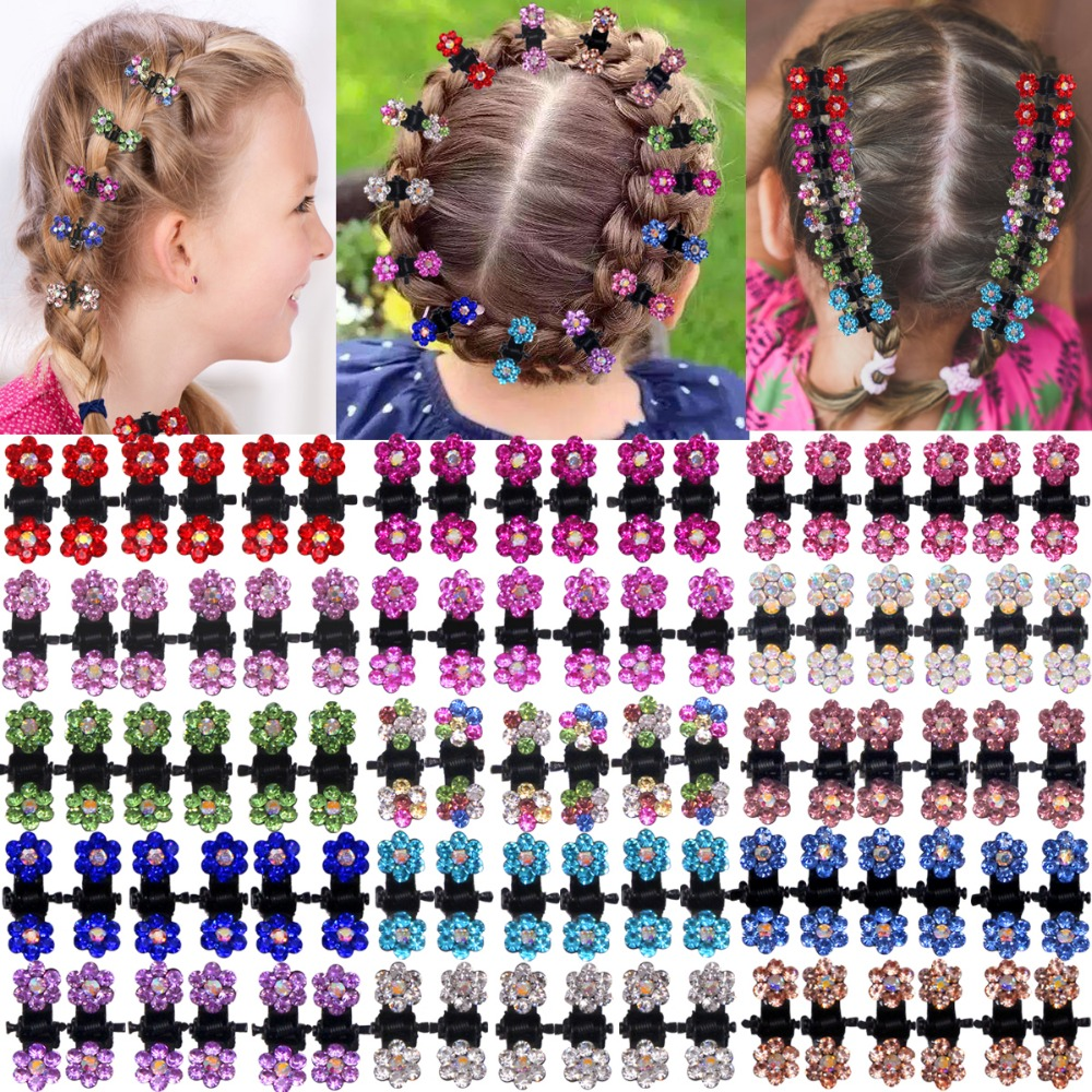 90Pcs Baby Girls Hair Claw Clips Crystal Rhinestones Tiny Hair Clip Colored Flower Hair Bang Pin For Kids Women Hair Accessories