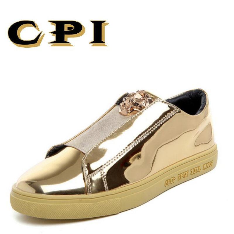 CPI 2018 New Designer Version Luxury Brand Casual Shoes Men Slip On Loafers Metal Sign Mens Shoes Leather men flats DY-42