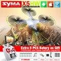 NOVA SYMA X5HW FPV RC Quadcopter Zangão com Câmera WI-FI 2.4G 6-Axis Dron Helicóptero DO RC VS jjrc h33 com 5 bateria + Cabo 5in1
