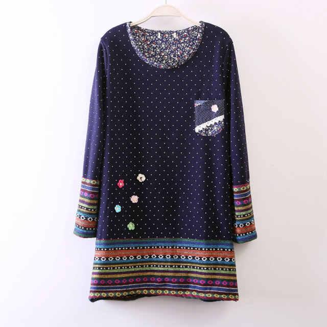 Mori Girl зимнее плотное флисовое свободное милое платье лолиты для девочек милое платье в горошек с цветочным принтом Vestidos Туника богемная одежда