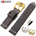 ZLIMSN 22mm 24mm Watchbands Men Genuine Leather Thick Watch Bands Strap Belt Steel Buckle Clasp relogio Replacement TG55