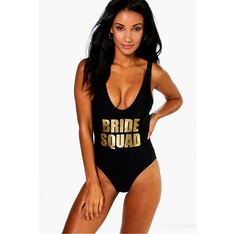 BRIDE SQUAD Print One Piece Swimsuit Sexy Thong Swimwear Women High Cut Pink Bathing Suit Backless Black Beach Monokini Bodysuit