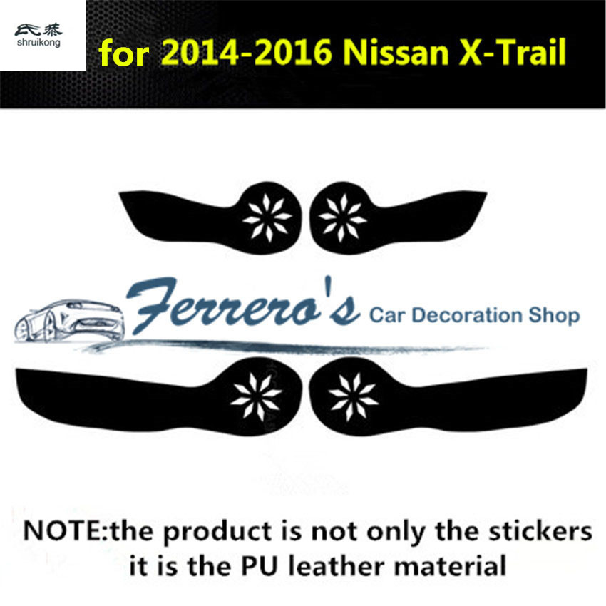 Free shipping 4pcs/lot PU leather car stickers car accessories door protection kick cover for 2014-2017 Nissan X-Trail
