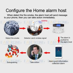 Image 2 - 2262 code 433MHz Wireless smoke detector for home burglar alarm system sensor alarm