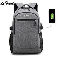 LeTrend Multifunction USB Charging Men 15Inch Laptop Backpacks For Teenager Male Mochila Leisure Travel Backpack Tough NB021