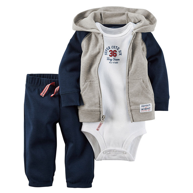 20a63111d321 2017 Baby Boy girl Clothes Sets 1 hooded zipper coat + pants + ...