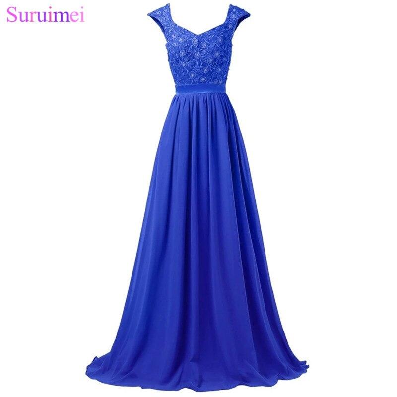 Robes De demoiselle d'honneur longues violet clair longueur De plancher dentelle broderie Applique argent gris bleu Royal robe De mariage événement robe - 5
