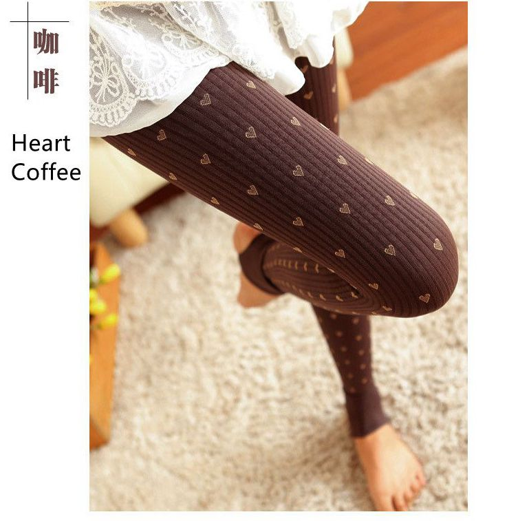 Winter Plus Thicken Women Pantyhose Printed Heart Anchor Cotton Blends Tights Slim Bottom Stockings High Quality