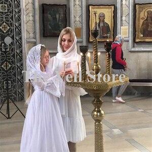 Image 3 - حجاب كاثوليكي للبنات الصغار أبيض من Mantilla مناسب للكنيسة للأطفال الصغار وحجاب من الدانتيل من قماش الأنوفيا