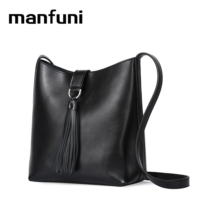MANFUNI Genuine Leather bags handbags women Casual Tote Simple Shoulder crossbody bag women messenger bags black white 0837 women handbag shoulder bag messenger bag casual colorful canvas crossbody bags for girl student waterproof nylon laptop tote