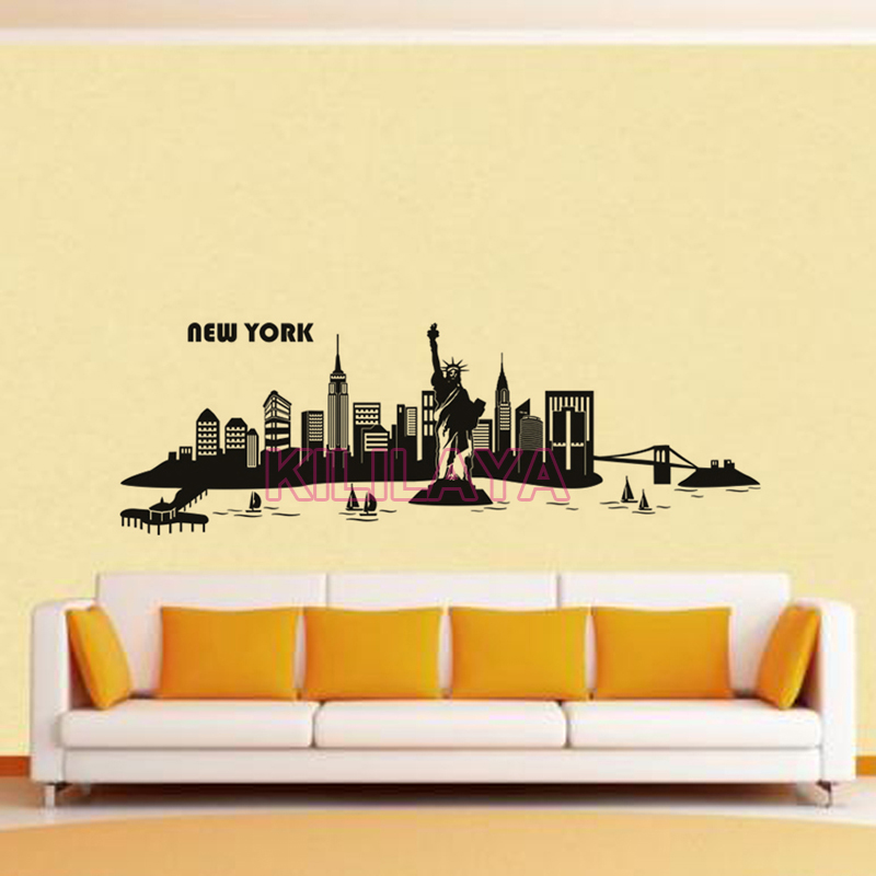 Stickers City New York Skyline Travel Vinyl Wall Sticker Decals ...