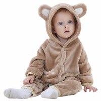Ephex Brand Designer Soft Flannel Baby Pajamas Kawaii Kids Hooded Romper Sleepwear Warm Winter Boys Girls