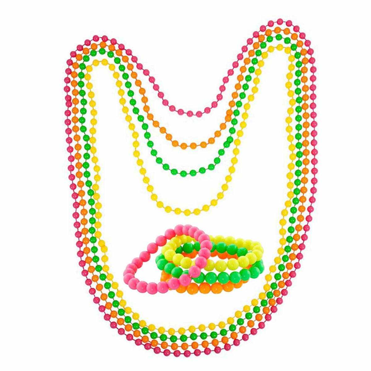 4PCS Neon Beaded Bracelets Plastic Beads Long Necklace Collar String Necklace Theme Costume For Fancy Dress Party Supplies