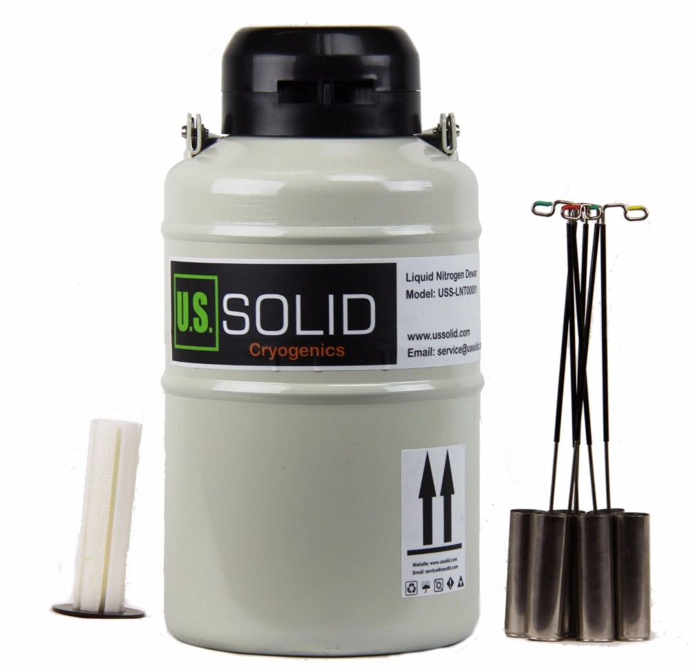 U.S. Solid 3 L Liquid Nitrogen Sperm Semen Container Cryogenic LN2 Tank Dewar with Straps 6 Canisters 25 days