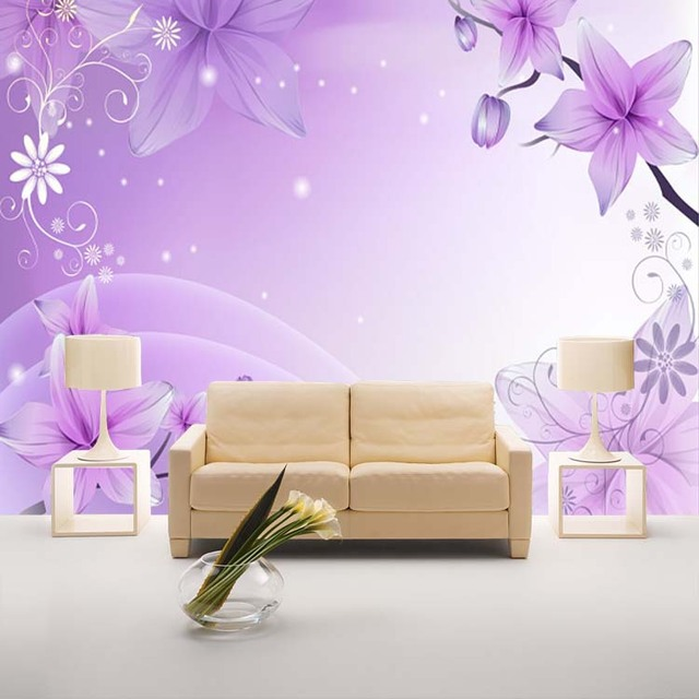 Elegant Purple Lily Photo Wallpaper Flowers Wallpaper Custom 3D Wall Mural  Boys Kids Bedroom Room Decor