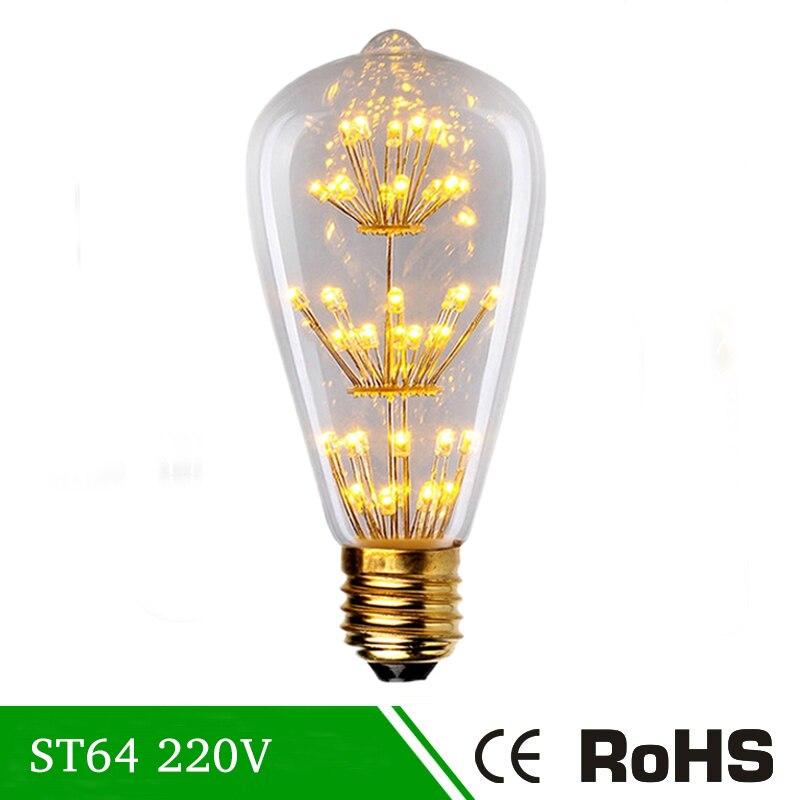 E27 Pendentif Lampe Vintage Edison Ampoule St64 220 V À Incandescence  Ampoule Led 40 W Ampoules