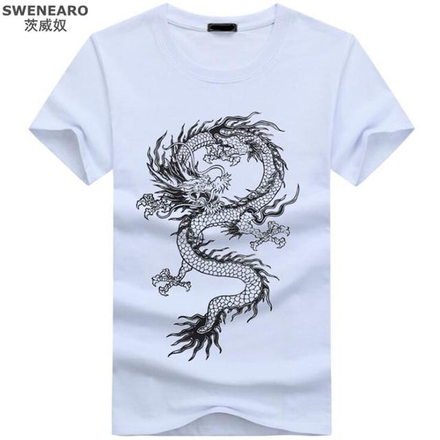 2018 Men's New Chinese dragon 3D Printed Short Sleeve T-Shirt Summer Fashion  Cool Tops