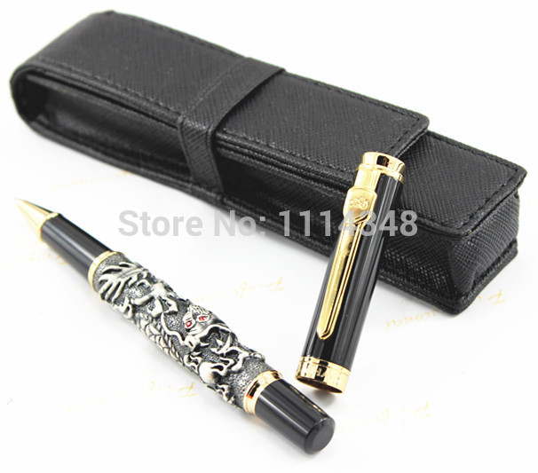 Luxury roller ball pen Jinhao Chinese Dragon / Loong Bronze Basso-relievo Medium + Black leather bag luxury roller ball pen  jinhao chinese