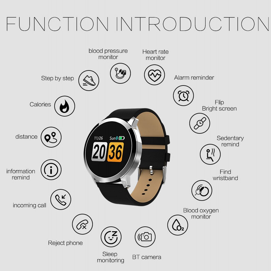 Hommes sport Bracelet intelligent couleur écran Fitness montre bracelets Q8 fréquence cardiaque tensiomètre PK Miband Xiomi 3 fitness