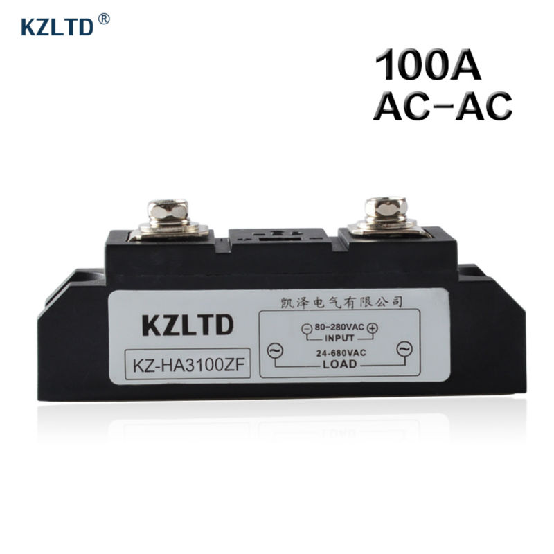 KZLTD SSR-100A AC-AC Solid State Relay 100A 80-280V AC to 24-680V AC Relay 100A SSR Solid State Relays Rele High Quality Relais kzltd single phase ssr 4 20ma to 28 280v ac relay solid state 120a ac solid state relay 120a solid relays ks1 120la relais rele