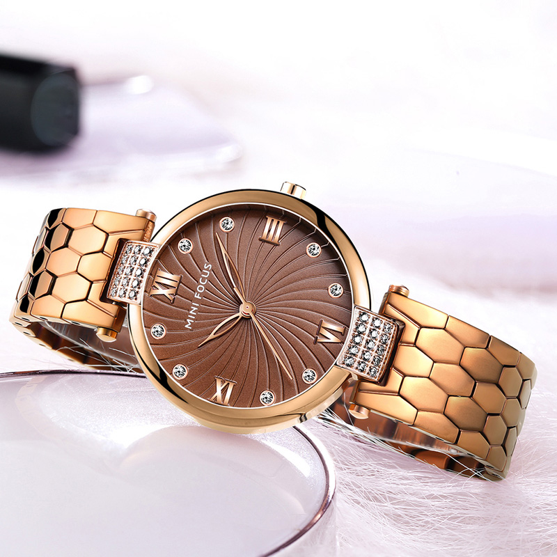 MINI FOCUS Women's Dress Quartz Watches 2019 New Luxury Simple Analog Stainless Steel Wristwatch Lady Woman Clock 0186L Coffee
