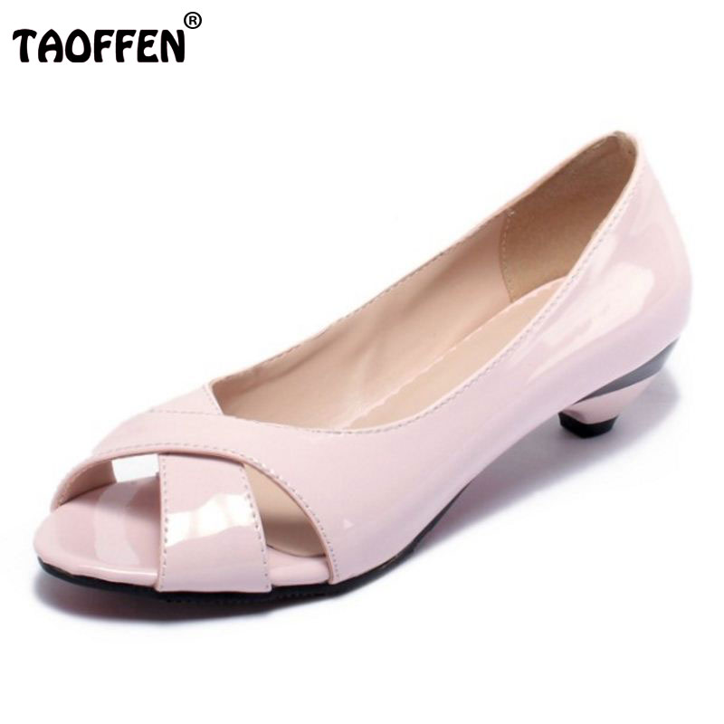 TAOFFEN Women High Heel Shoes Peep Toe Sexy Ladies Office Dress Shoes Woman Heeed Heels Pumps Footwears Size 31-43 PA00417 taoffen ladies stiletto high heels peep toe shoes shoes women wedding lace sexy casual slip on platform pumps size 31 43 pa00382