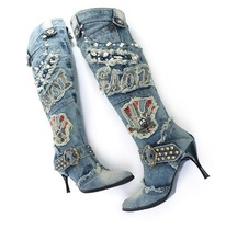 Sexy Women Thin Heels Denim Knee High Boots Pointed Toe Side Zipper Studded Gladiator Sandals Boots For Women Fashion Dress Shoe