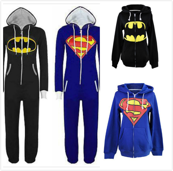 838d725ed0f3 Online Shop Anime Superman Batman Onesie Hoodie Supergirl Batgirl Adult  Women Men Unisex All In One Jumpsuit Romper Hood Playsuit Plus Size