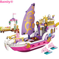Bainily City Angel Girl Princess Pleasure Boat Building Blocks Toys Gifts For Girl Children Compatible