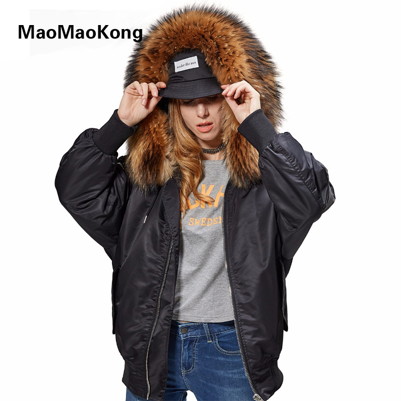 natural fur raccoon liner female winter jacket park with embroidery with inscriptions free from natural fur raccoon coat Warm