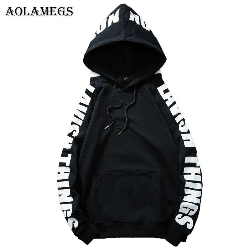 Aolamegs Толстовки Для мужчин сбоку письмо печати пуловер с капюшоном Высокое уличный ст ...