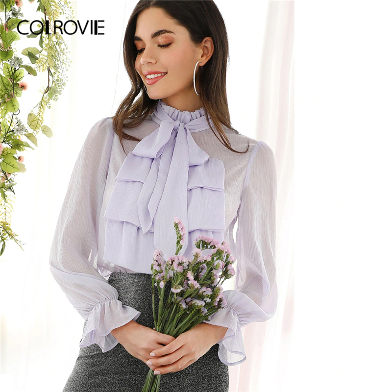 COLROVIE Purple Tie Neck Jabot Collar Semi Sheer Ruffle Long Sleeve Elegant   Blouse     Shirt   Spring Vintage Office Women   Shirts   Tops