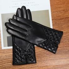 Latest 2019 Lambskin Butterfly Knot Real Leather Gloves Female Winter Plus Velvet Thicken Black Womans Sheepskin L6123