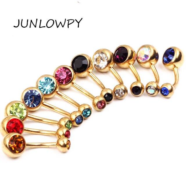 JunlowPY 11 יח'\חבילה טבעות Crystal כירורגי פלדת גוף תכשיטי בטן פירסינג טבעות סקסי אמיתי טבור פירסינג Ombligo