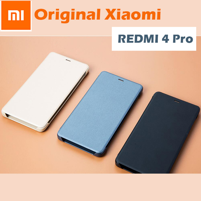 new concept 0c8cb caf5c US $4.99 20% OFF|100% Original Xiaomi Redmi 4 pro case Smart wake up Flip  Case 4 Prime Leather Cover Xiaomi mi Redmi 4pro 3GB 32GB phone 5.0