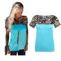 2016 remiendo de las mujeres del leopardo de manga corta camiseta del verano más el tamaño azul blanco gris camiseta femme casual loose o cuello tops A461
