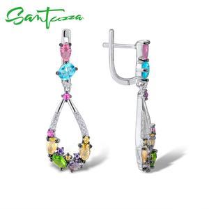 Image 3 - Santuzza ピアス女性 925 スターリングシルバーブラブライヤリングロングシルバー 925 カラフルな石 brincos ファッションジュエリー