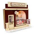 DIY Dolls house Miniature Kit w/ Light Dollhouse Europe shop & all Furniture Doll House Room Box Girl Gifts Europe Shop
