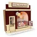 Diy casa de bonecas em miniatura kit w/luz dollhouse loja europa & todos os Móveis Casa de Boneca Quarto Caixa de Presentes Da Menina Europa loja