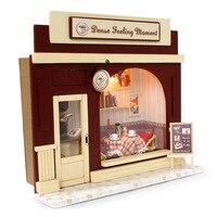 Diy lalek dom miniaturowe kit w/światła dollhouse europa sklep i wszystkie Meble Dom dla Lalek Pokój Box Dziewczyna Prezenty Europa sklep