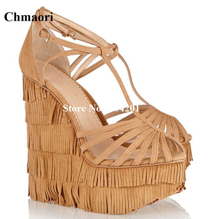 2018 New Arrival Women Sandals Fringe Open Toe Solid Color Sandals Ankle Strap High Wedge Heels Platform Shoes Party Dress Shoes все цены