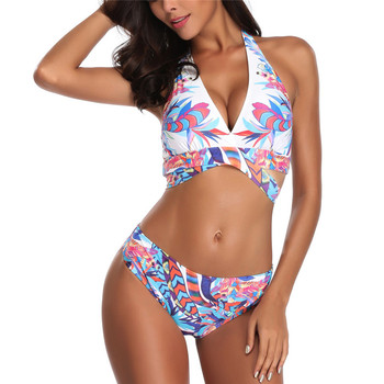 Fashion Women Siamese printed swimsuit Push-Up Padded Bra off shoulder one piece bathing suit underwear set 40mr07 one shoulder scalloped trim printed swimsuit
